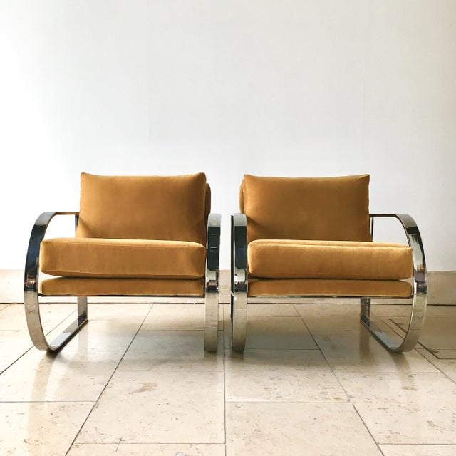 Pair of Chromium Steel Framed Velvet Upholstered Armchairs 1970s Reupholstered by Talisman NB: These items are subject to...