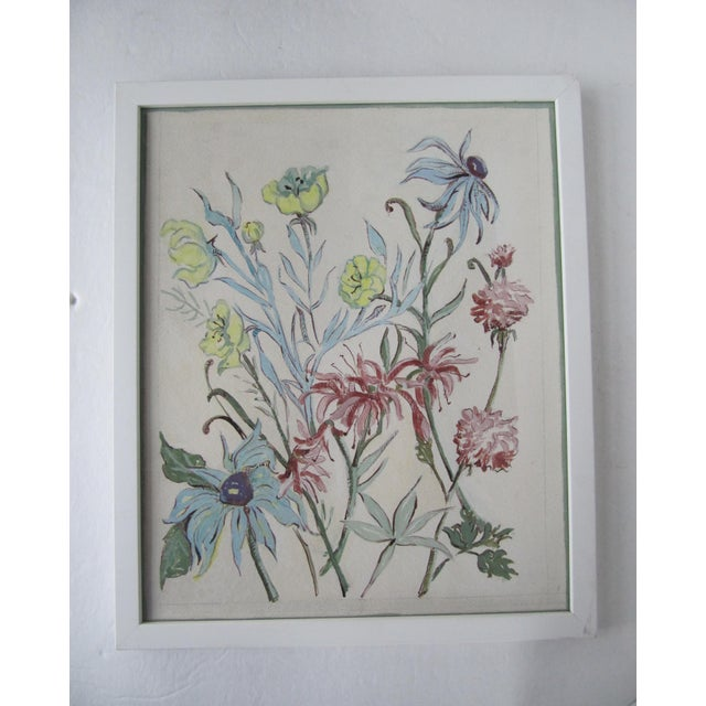 Acrylic Paint Vintage Acrylic Flower Painting For Sale - Image 7 of 7