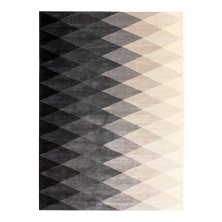 Solo Rugs Grit and Ground Collection Contemporary Harlequin Black/White Hand-Knotted Area Rug , 8' X 10' For Sale