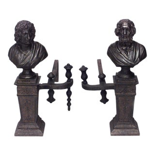 Neoclassic Homer and Virgil Andirons - a Pair For Sale