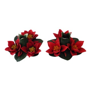 Cesar Capodimonte Poinsettia Candle Holders by Savastano - a Pair For Sale