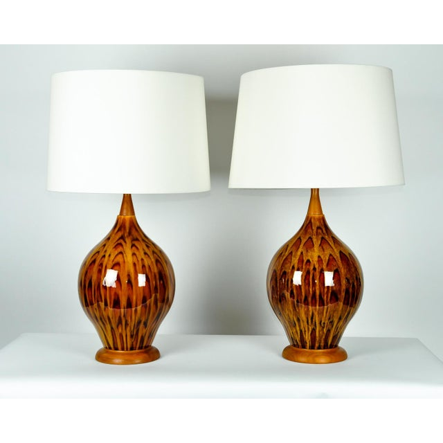 Ceramic Mid Century Italian Glazed Porcelain Table Lamps - a Pair For Sale - Image 7 of 7