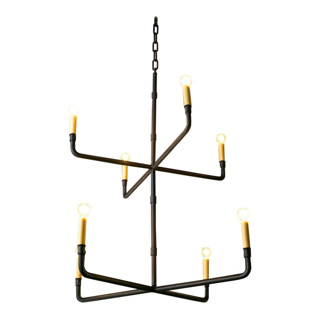 Two-Tier Hand-Made Iron Chandelier For Sale