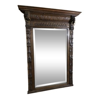 Early 20th Century Vintage Oak Wood Wall Mirror For Sale