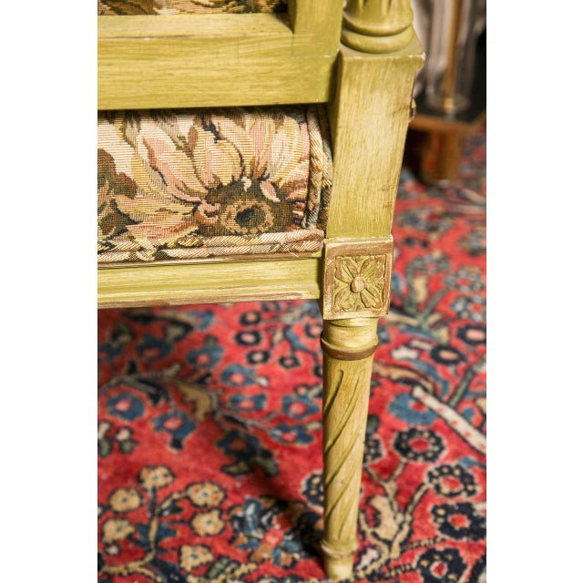 French Louis XVI Style Painted Settee by Jansen For Sale - Image 7 of 7