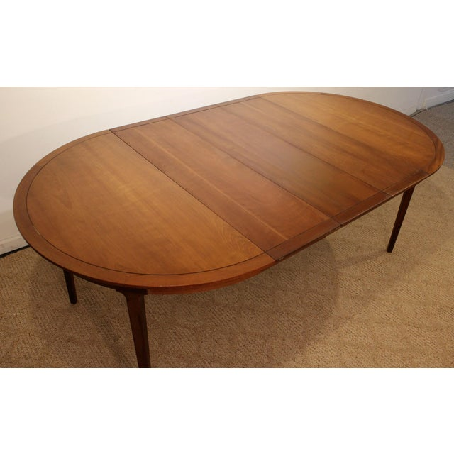 Mid-Century Modern Drexel Counterpoint Round Extension Walnut Dining Table #14 For Sale - Image 11 of 13