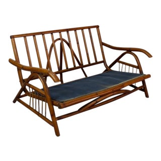 Asian-Inspired Vintage Rattan Loveseat 024d For Sale