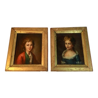 Antique 18th Century French Children Portraits - a Pair