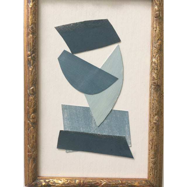 Collage in blues and white by Kimberly Moore. Painted and waxed paper mounted on heavy paper. Vintage gold frame. Signed....