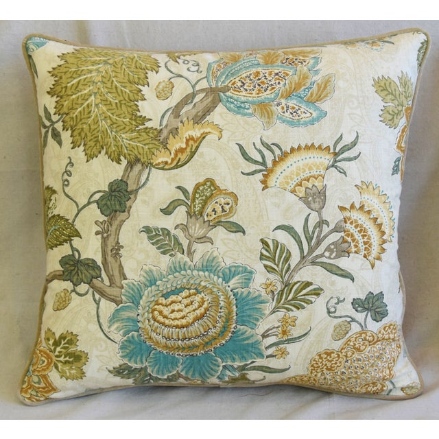 Large custom-tailored pillow in unused French Jacobean floral printed cotton fabric depicting a beautiful intertwining...