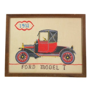 Ford Model T Framed Crewel Textile Art For Sale