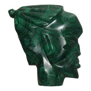 1950s Malachite Sculpture of Face For Sale