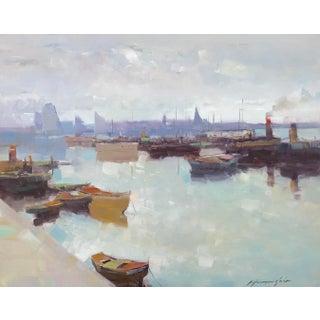 Factory Harbor Original Oil Painting For Sale