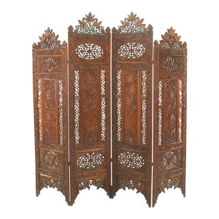 Moorish Carved Teak 4-Fold Screen For Sale