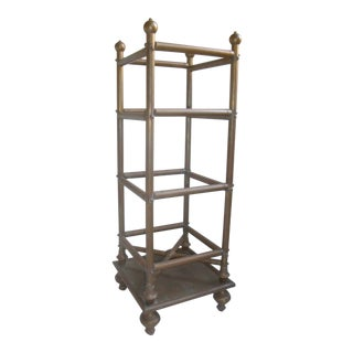 Brass Umbrella Stand or Walking Stick Rack For Sale
