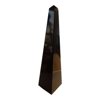 Jet Black Obelisk, Signed by the Artist For Sale