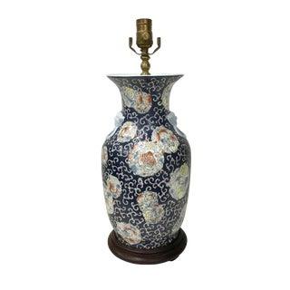 1910s Asian Antique Lotus Flower Blue Table Lamp