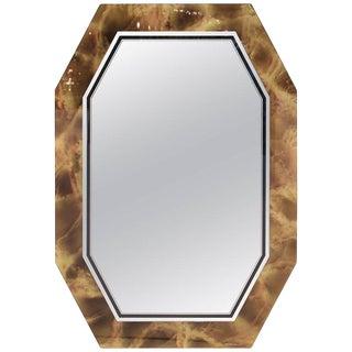 1970s Mid Century Modern Italian Octagonal Faux Tortoise Shell Mirror For Sale