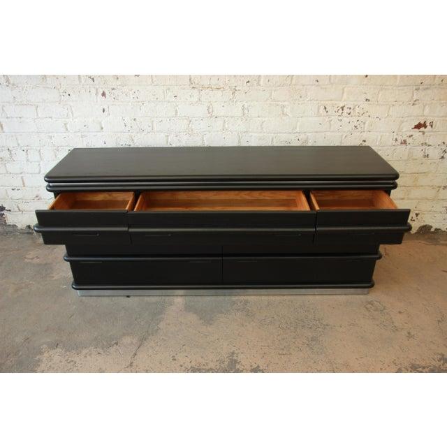 Vintage Jay Spectre for Century Furniture Cerused Oak & Chrome Dresser - Image 8 of 11