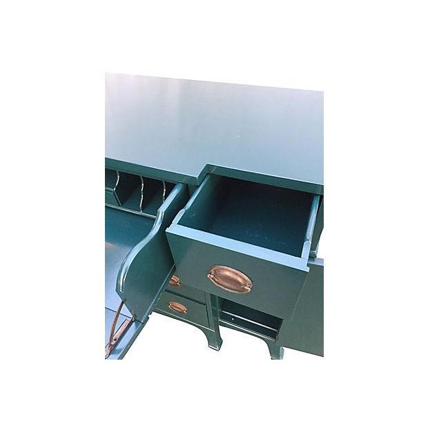 Teal Lacquered Secretary Desk - Image 7 of 7