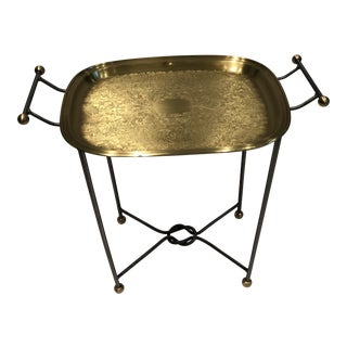 1970s Hollywood Regency Brass Tray Top Table For Sale