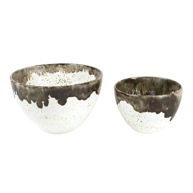 Gray Speckled Bowls - Pair - Image 1 of 4