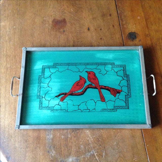 Vintage Glass-Top Painted Bird Tray - Image 11 of 11
