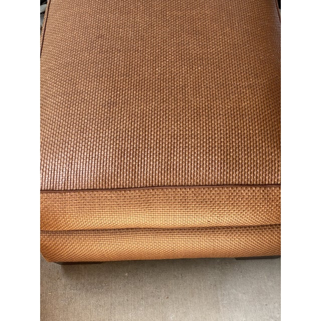 Brown Donghia Leather Woven Ottoman For Sale - Image 8 of 11