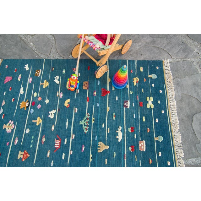 "Anatolian Handmade Kids Kilims Rug - 4'9"" x 2'11"" For Sale - Image 10 of 11"