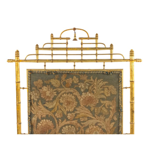 French Victorian gilt faux bamboo fire screen with needlepoint panel.