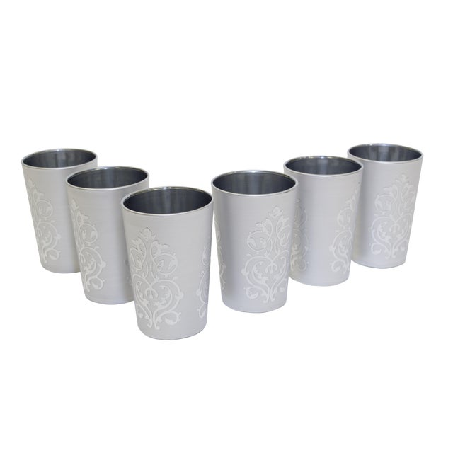 Moroccan Luxury Imilchil Silver Tea Glasses - Set of 6 For Sale