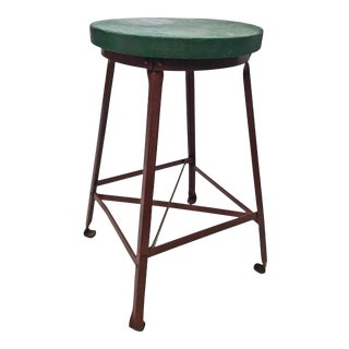 Vintage Industrial Red Round Stool with Wood Top