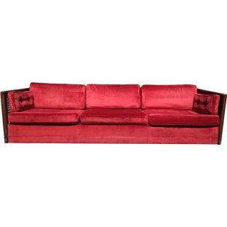 Vintage Mid Century Ruby Red Velvet Cane Sofa For Sale
