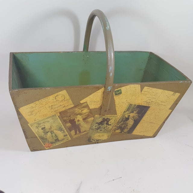 Antique Victorian Postcard Decoupaged Wooden Tote Basket For Sale - Image 13 of 13