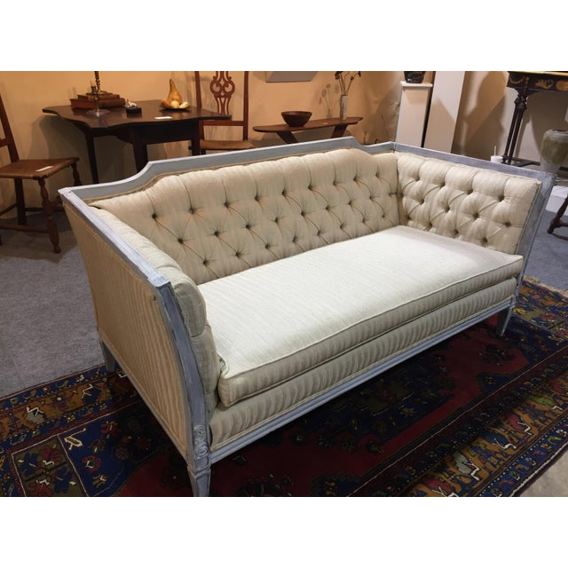 Vintage Gustavian style Swedish sofa in lovely distressed pale grey. Custom upholstered in beautiful ivory textured silk...