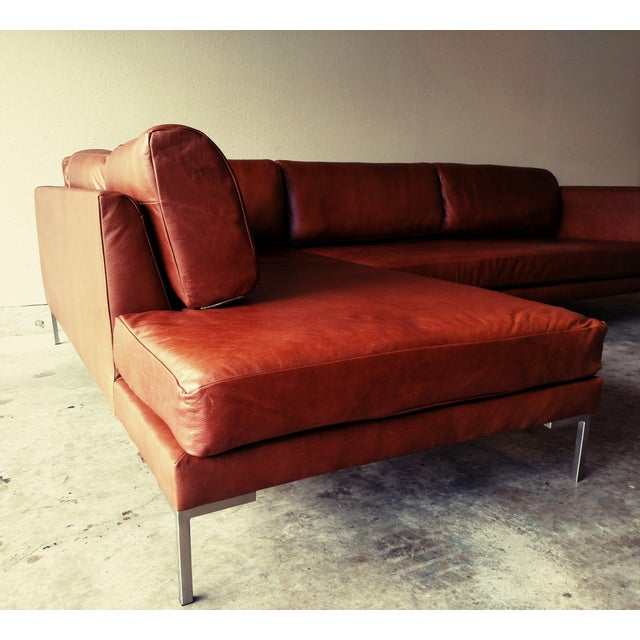 Gambrell Renard Leather Sofa Chaise Sectional - Image 3 of 5