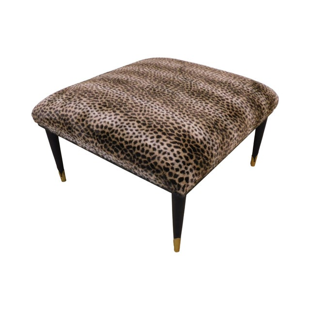 Mid Century Modern Square Cheetah Print Ottoman For Sale - Image 13 of 13