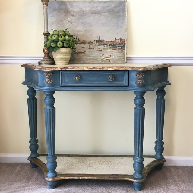 Custom Finished Demi-Lune Console Table - Image 4 of 5