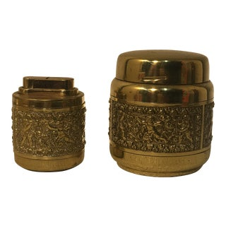 1920s Art Deco Gold Tobacco Case and Lighter - a Pair For Sale