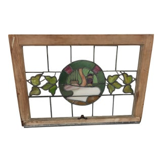 Art Nouveau Upstate New York Vintage Stained Glass Window Panel For Sale