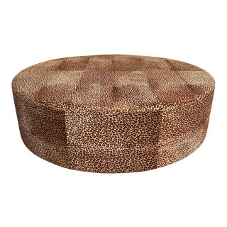 Vintage French Ottoman Coffee Table Leopard Leather 1910s For Sale