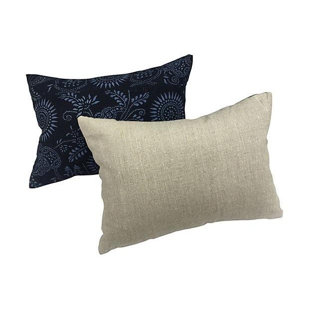 Black & Blue Indigo Batik Pillows - Pair - Image 5 of 5