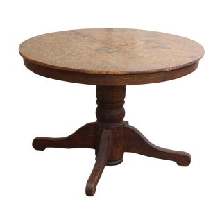 20th Century Traditional Round Oak Top Wood Table For Sale
