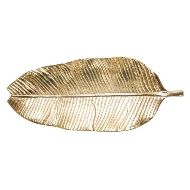 Mid-Century Modern Gilt Banana Leaf Tray For Sale - Image 3 of 3