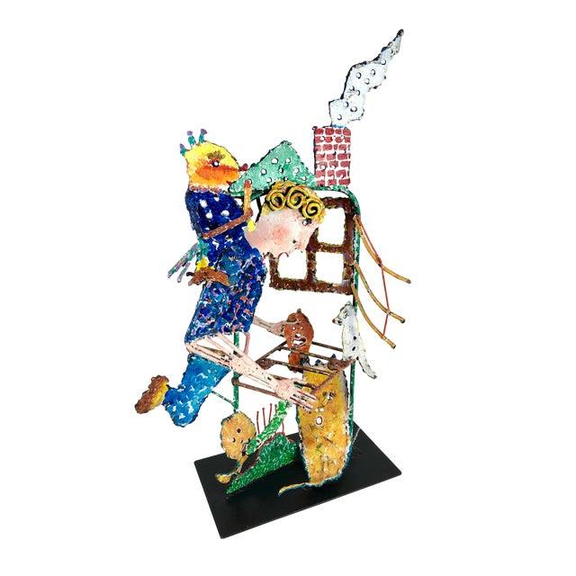 1980s Zaikine Folk Art Signed Metal Sculpture For Sale