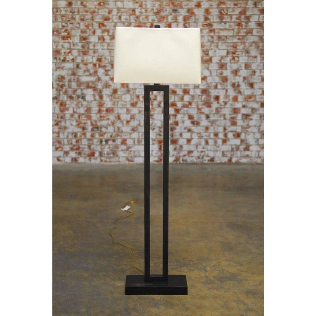 Modern Bronze Doughnut Floor Lamp by Robert Abbey - Image 3 of 9