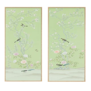 "Jardins en Fleur ""Stockwood Park"" by Simon Paul Scott Chinoiserie Hand-Painted Silk Diptych, Out of Production - 2 Pieces For Sale"