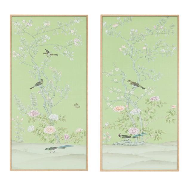 "Jardins en Fleur ""Stockwood Park"" by Simon Paul Scott Chinoiserie Hand-Painted Silk Diptych, Out of Production - 2 Pieces For Sale"