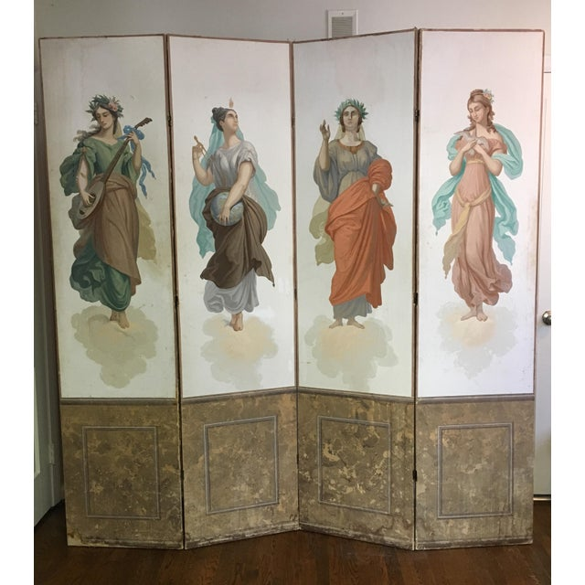 Antique Zuber Attr. Wall Paper Four Panel Screen - Image 11 of 11