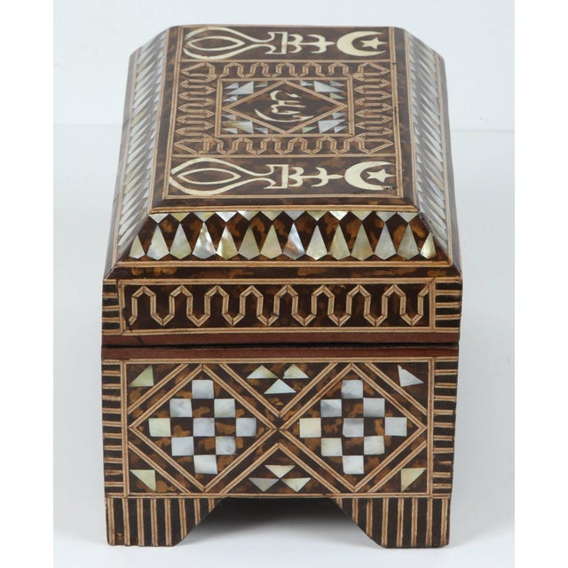 Mid 20th Century Large Mother-Of-Pearl Inlaid Jewelry Box For Sale - Image 5 of 7